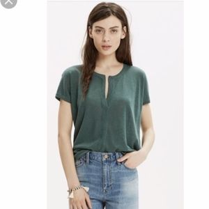 Madewell | Meadow Green Linen Short Sleeve Top  XS